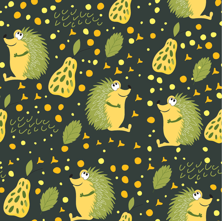 Seamless pattern of forest animals. A hedgehog with green needles sits on the forest miss glade. Wallpaper for childrens room, books, fabrics, cards, pattern for childrens clothes. Fashion for children Stock Illustratie