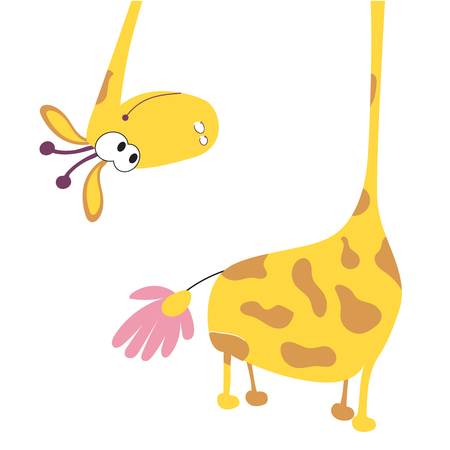 Funny yellow giraffe found a Daisy and is surprised where the tail. The giraffe head is suitable for images on children's clothing, textiles, cards and children's books