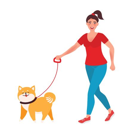 The girl walks a few dogs. Professional dog Walker. Vector illustrations unusual professions