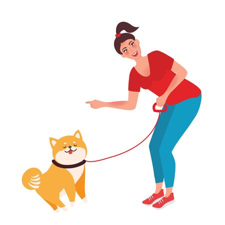 She bent down to the dog and gives her the command to sit. Pet training. Vector illustration
