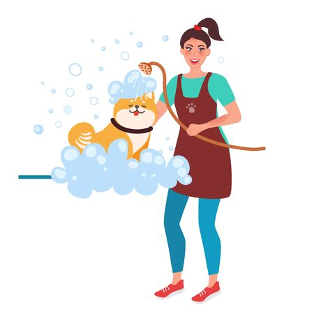Girl Master groomer washes the dog. Professional Care and care for Pets. Vector illustration of the human profession