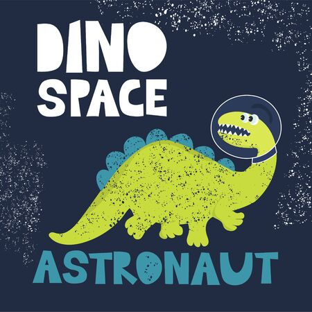 Funny dinosaur astronaut in space
