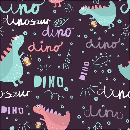 Seamless dinosaur pattern. Dinosaurs enjoy the walk. Background texture with Doodle-style fonts and lettering for children's fashion. Vector illustration