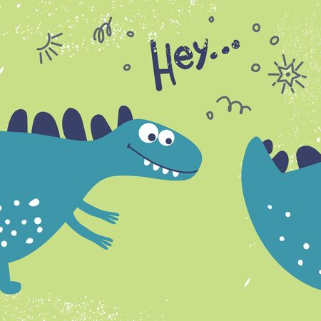 Funny cute dinosaur wants to catch his tail. The design of the head and tail of the dinosaurs to children's fashion, textiles, postcards and books