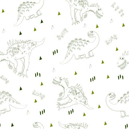 The world of dinosaurs seamless pattern. Textile background for children's fashion or design. Vector illustration