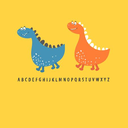 Two dinosaur friends go on adventures. Printing of children's cards, Souvenirs, children's fashion. Vector illustration