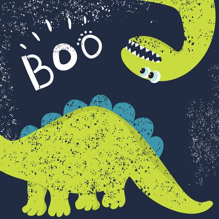 Funny green dinosaur looking for its tail. Dinosaur head and tail design for children's clothing, fabrics, cards and books, for comics