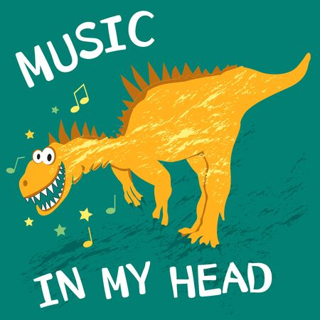 Funny yellow dinosaur laughs, dances and loves music. Text music in my head for the design of children's clothes, fabrics, cards and books, for comics Illustration