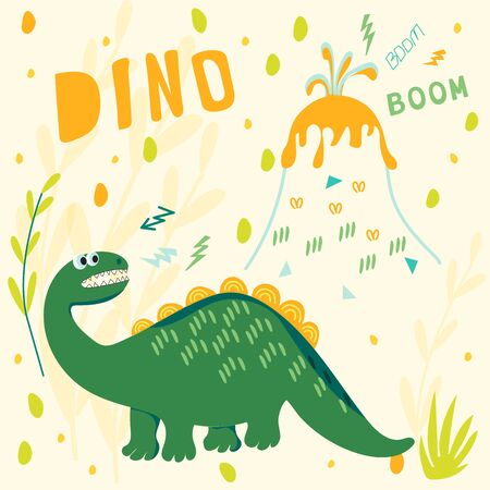 The frightened dinosaur watch as the volcano erupts. Vector illustrations with text for children's clothing, t-shirts, fabrics, postcards, books. Style of comics and cartoons