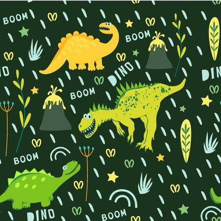 Seamless pattern of yellow and green dinosaurs and volcano. Dinosaurs walking in a clearing. For the design of childrens clothing, fabrics, cards, books. Style comics and cartoons Ilustração