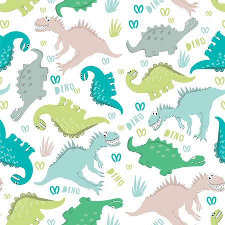 Seamless dinosaur pattern in pastel colors. Dinosaurs walking in a clearing. For the design of childrens clothing, fabrics, cards, books. Style comics and cartoons