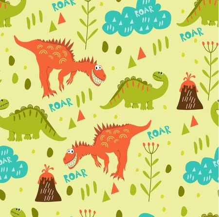 Seamless dinosaur pattern. Green and orange dinosaur walk in a clearing near the volcanoes. For registration of childrens clothes, fabrics, cards, books. Style of comics and cartoons Ilustração