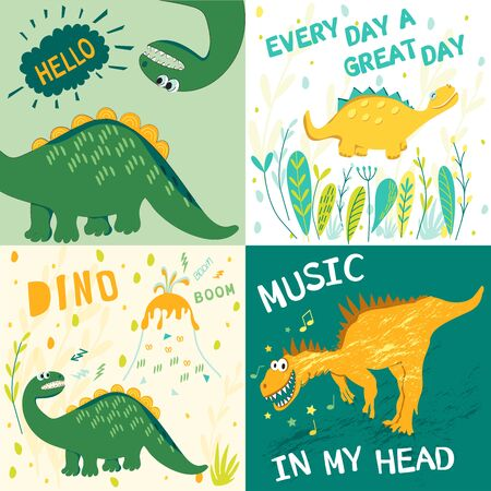 Eine Reihe von Vektorgrafiken von Dinosauriern mit Text für Kinderkleidung, T-Shirts, Stoffe, Postkarten, Bücher. Stil von Comics und Cartoons Vektorgrafik