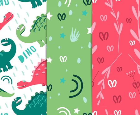 Seamless pattern of colored dinosaurs. Dinosaurs walking in a clearing. For the design of childrens clothes, fabrics, cards and books, for comics