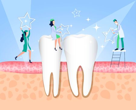 Healthy tooth after treatment and dental care. Medical direction dentistry. White enamel of the tooth. For dentist vector illustration