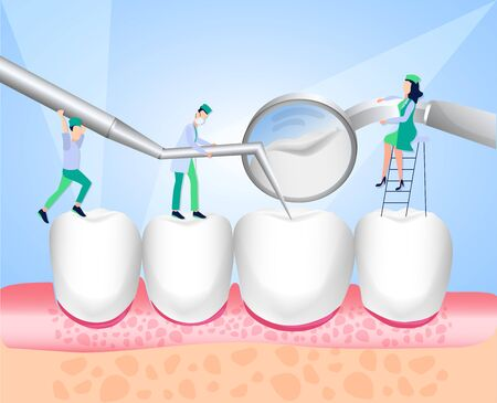 The dentist conducts a medical examination of the teeth. Dentistry. Direction dentistry. White enamel and healthy human teeth. Dental instruments. Vector illustration