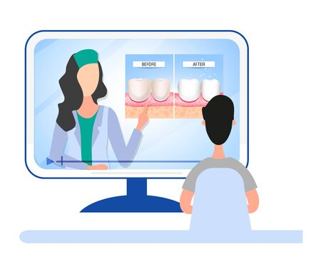 Online dental consultation about dental care and oral cavity. Healthy and diseased teeth. Visual aid for students, dentists, clinic patients. Vector illustration Stock Illustratie
