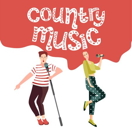 Singing and dancing people at the country music festival. Happy people with microphones sing songs. The concept of an invitation to a concert in the style of the Wild West. Vector illustration