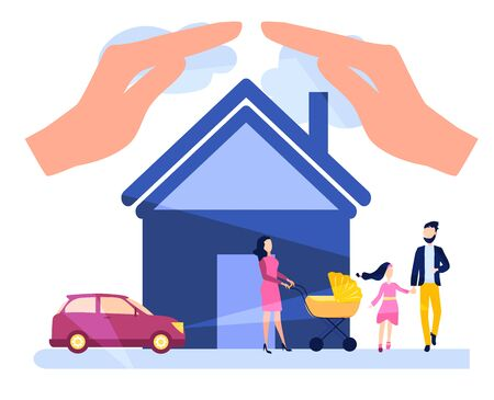 Life and health insurance, real estate, personal property, car accident Insurance during the trip. Vector illustration
