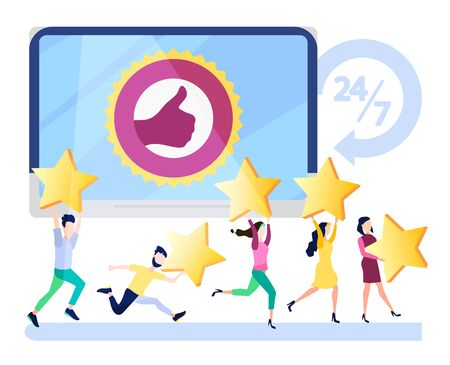 Successful work, feedback, online store rating, rating 5 points, people leave online reviews about products. Vector illustration