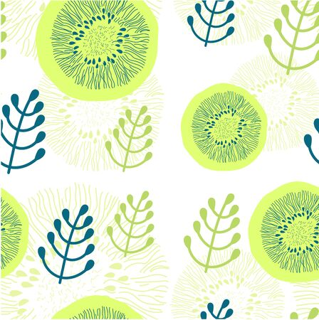 Round floral elements and other plant decor on white background. Seamless pattern. For printing on textiles, Wallpaper, cards Illustration