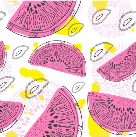 The elements of point, the seeds, the halves of watermelon and other decor plants on white background. Seamless pattern. For printing on textiles, Wallpaper, cards