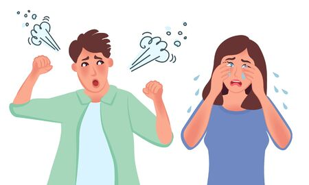 An aggressive man yells at a crying woman. Disappointed husband and wife in the divorce process, unhappy young family. Vector illustration