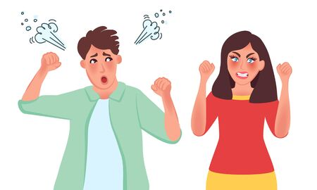 Quarrel between husband and wife. Divorce, family drama. Wifes accusation. Vector illustration