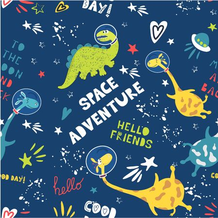 Cute animals astronauts dinosaur and giraffe in space. Children's fashion. Seamless pattern. Cool space adventure vector background