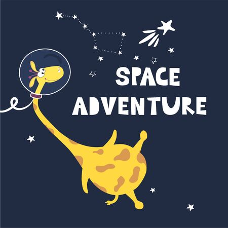 Space adventure. Giraffe astronaut in space among the constellations. Children's fashion. Drawn vector funny cartoon character. Design of postcards, books
