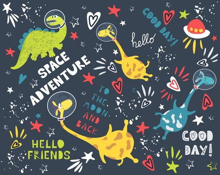 Cool space adventure vector background. Cute animals and astronauts, dinosaur and giraffe. Constellations and planets in outer space. Printing for fabric, paper, children's fashion
