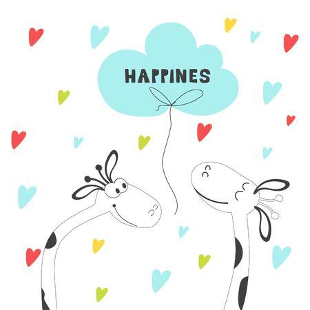 Nice giraffe card. Hand-drawn comics with African animals. Vector cartoon character. Printing on t-shirts Stock Illustratie