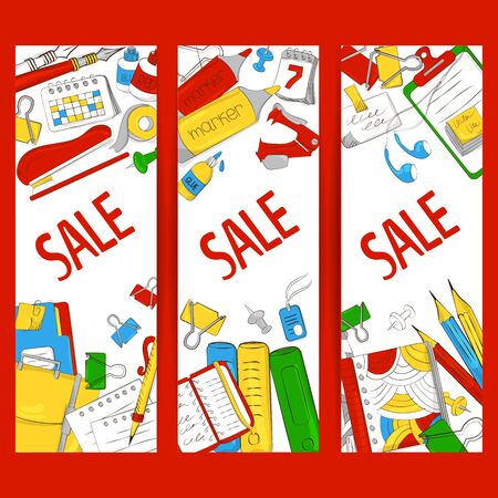 Discount or sale of office supplies. Goods for training. Suitable for graphic design, web banners, printing. Vector illustration 向量圖像