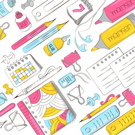 School and office supplies on white background. Background of stationery for graphic design, web banners and printed materials. Vector illustration Stock Illustratie