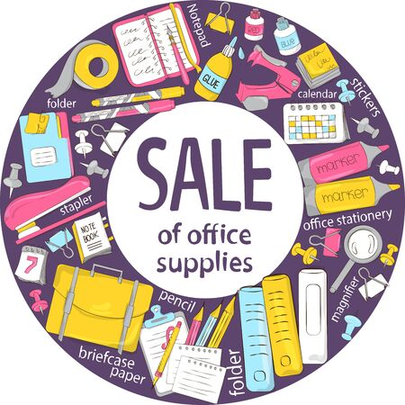 The composition of school and office supplies. Discount or sale of stationery. Suitable for graphic design, web banners, printing. Vector illustration Illustration