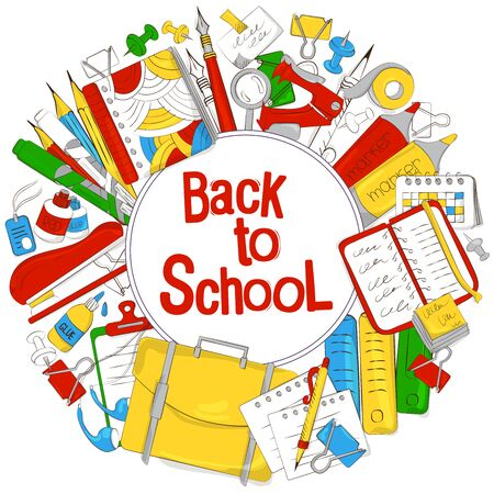 Back to school. The concept of school products. Suitable for graphic design, web banners, printing. Vector illustration on the theme of education, knowledge, learning Illustration