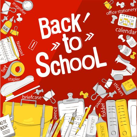 Back to school. The concept of school products. Suitable for graphic design, web banners, printing. Vector illustration on the theme of education, knowledge, learning