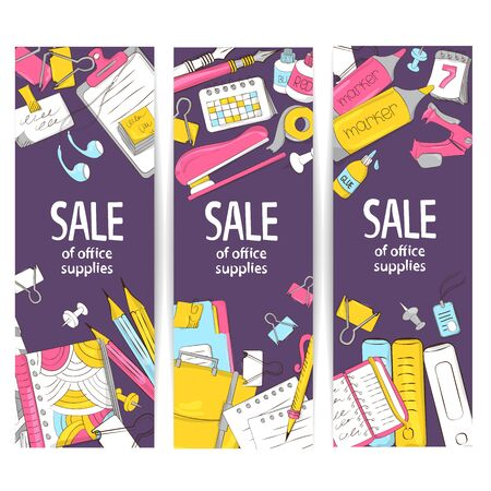 Set of banners from school and office supplies. Sale template or discount stationery for graphic design, web banners, printing. Vector illustration