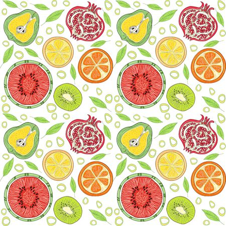 Pattern of bright summer fruits. The concept of healthy and healthy food. Texture of fruit Pear, watermelon, pomegranate, orange, lemon, kiwi