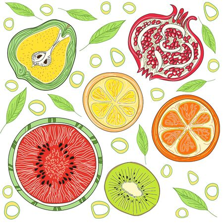 Fruit pattern. The concept of healthy and healthy food. Summer bright fruits Pear, watermelon, pomegranate, orange, lemon, kiwi. Vector illustration