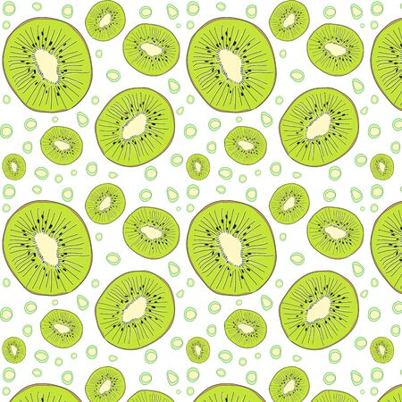 The pattern of kiwi. Graphic Summer bright fruits. The concept of healthy and healthy food. Vector illustration