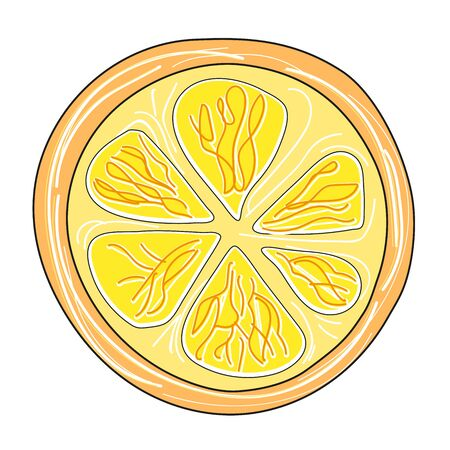 Bright summer lemon slice. The concept of healthy and healthy food. Vector illustration