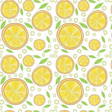 Lemon pattern. The concept of healthy and healthy food. Summer Fruit lemon. Vector illustration Иллюстрация