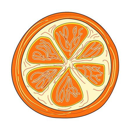 Orange slices on white background. The texture of the fabric. The concept of healthy and healthy food. Vector illustration