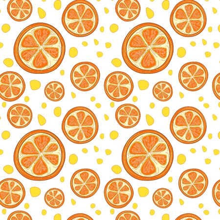 Orange slices on white background. The concept of healthy and healthy food. Orange art. Vector illustration