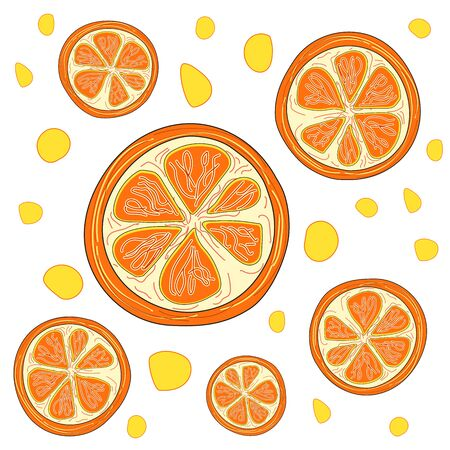 Orange slices on white background. The texture of the fabric. The concept of healthy and healthy food. Orange art. Vector illustration