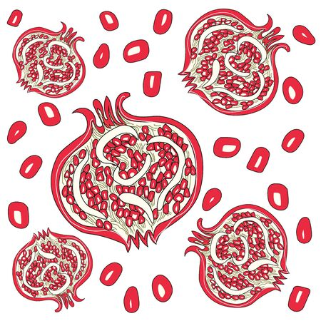 Pattern of juicy red pomegranate. Graphic Summer bright fruits. The concept of healthy and healthy food. Vector illustration Иллюстрация