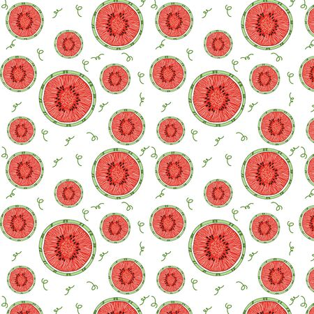 Pattern of bright juicy watermelons. Watermelon beauty. Red watermelons for tissue. Vector illustration.