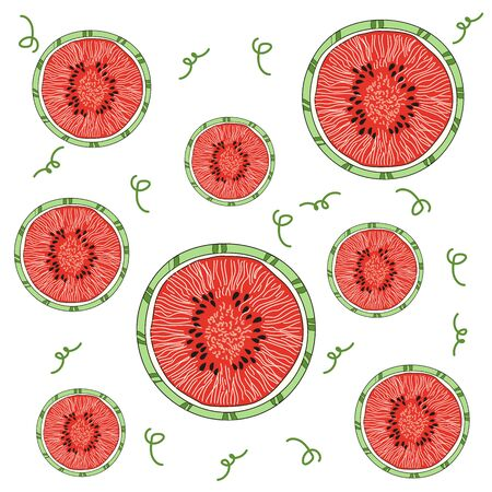 Bright juicy slices of watermelon. Watermelon beauty. Red watermelons for tissue. Vector illustration. Иллюстрация