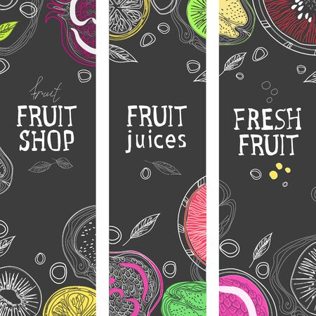 The menu of smoothies and fruit juices on the elements of the blackboard. Menu template for drinks and juice. Vector illustration